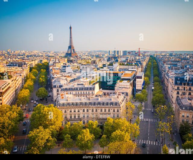 View on Paris at sunset - Stock Image