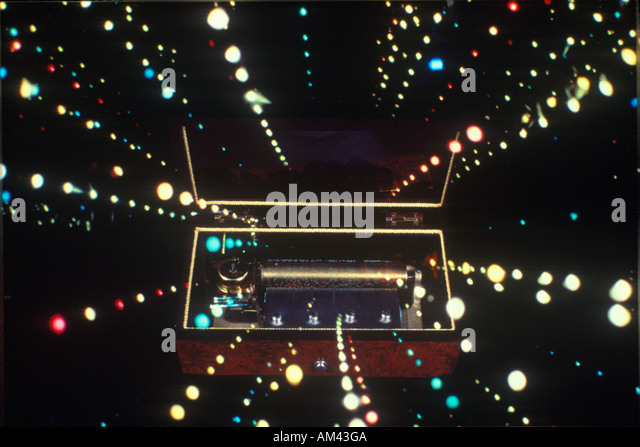 Space special effects composite of converging star streams and antique music box - Stock-Bilder