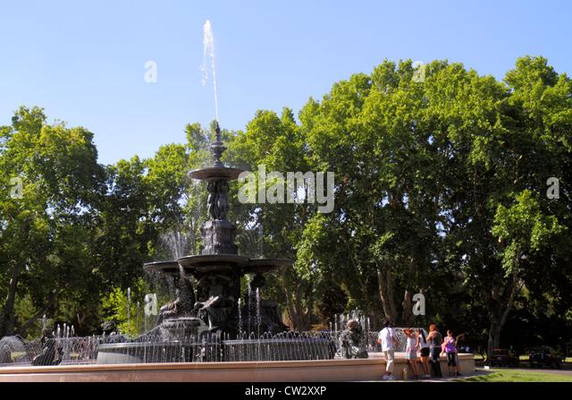 Argentina Mendoza Parque General San Martin public park 'Fuente de los Continentes' Continents Fountain - Stock Image