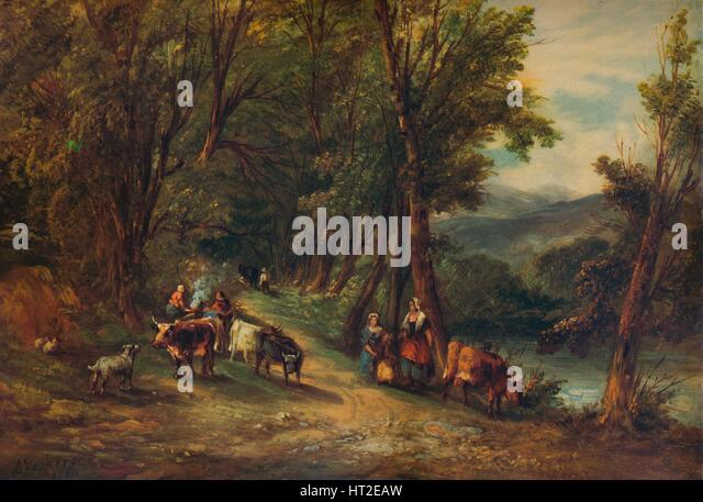 'Cattle and Figures in Wooded Valley with Stream', 1860, (1938). Artist: Alfred Vickers. - Stock Image