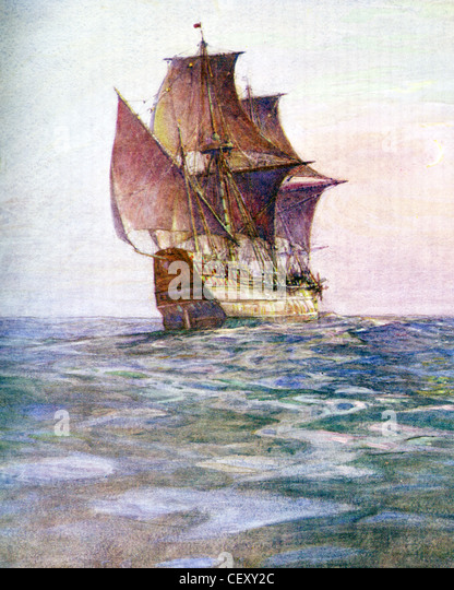 THE MAYFLOWER  carried the English Dissenters (Pilgrims) to Massachusetts in 1620. Painted by naval historian Gregory - Stock-Bilder