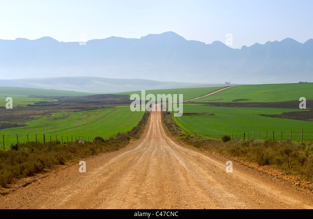 Dirt road leading to Nethercourt from the N2 highway near Caledon in South Africa's Western Cape Province. - Stock Image