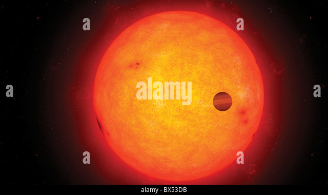 Artwork of transiting exoplanet - Stock Image
