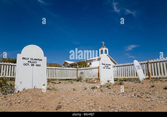 Replica of Boot Hill at Old Tucson Studios, west of Tucson, Arizona, USA - Stock Image