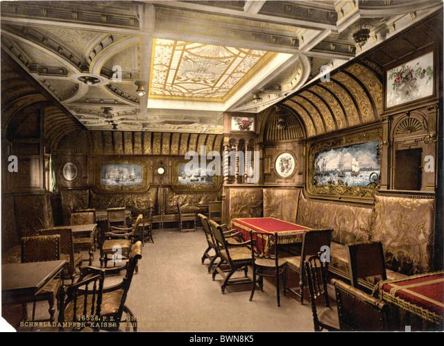 SS Kaiser Wilhelm der Grosse German Ocean Liner smoking cabin North German Lloyd Royal Mail Steamers Photochrom - Stock-Bilder