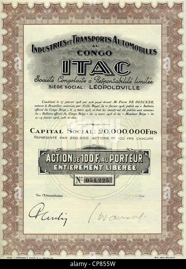 Historic stock certificate, colonial share certificate, 100 Belgian francs, Industries et Transports Automobiles - Stock-Bilder