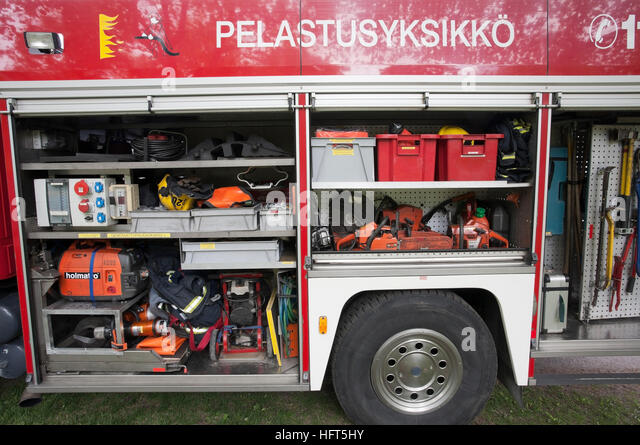 Fire truck equipment on display, Finland - Stock Image