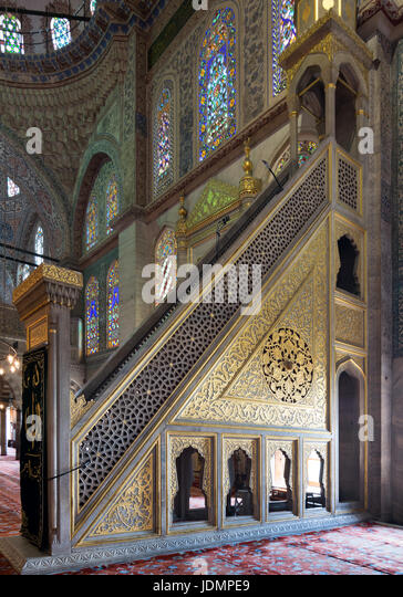 Marble golden floral ornate minbar (Platform), Sultan Ahmed Mosque (Blue Mosque), Istanbul, Turkey - Stock Image