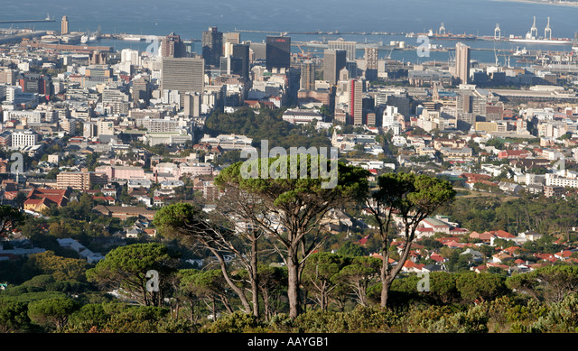 south africa cape town scenic view from table mountain downtown - Stock Image