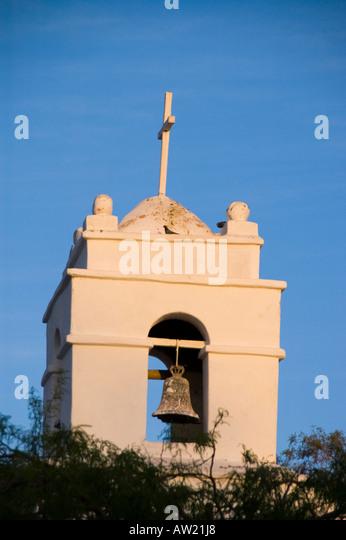 Chile Atacama Desert San Pedro cathedral bell tower - Stock Image