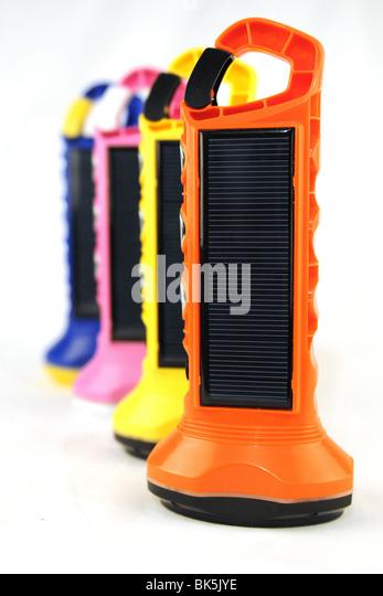 colourful 'BoGo Light ' Solar Paneled torches - Stock Image