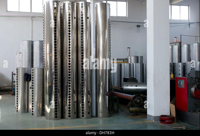 Tanks of vacuum tube solar water heaters - Stock Image