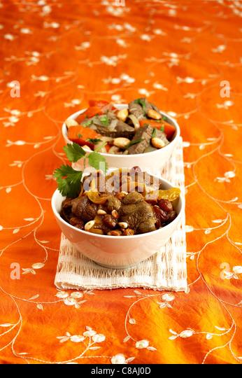 Lamb and pumpkin Tajine,mutton and raisin Tajine - Stock Image