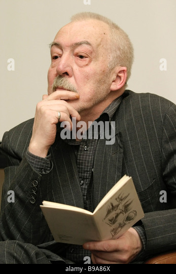 Andrei Bitov prominent Russian novelist and poet meeting his readers in Moscow - Stock Image