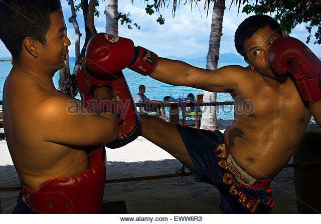 Koh Yao Noi, Phang Nga Bay, Thailand, Asia. Thai Boxing: Muay Thai class, lessons. Muay Thai boxing ring, located - Stock Image