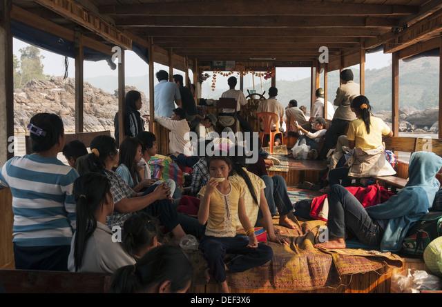 Elk209-1594 Laos, Mekong River, riverboat passengers - Stock Image