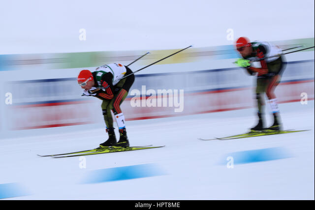 Lahti, Finland. 24th Feb, 2017. Eric Frenzel (l) and Johannes Rydzek from Germany in action during the single combination - Stock-Bilder