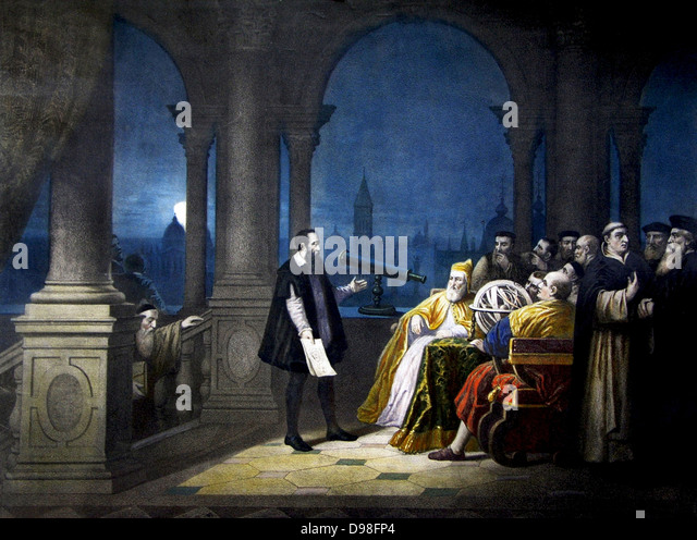 Galileo shows the Doge Leonardo Donà his telescope. And 'August 21, 1609. From a painting by H. J. Detouche - Stock Image