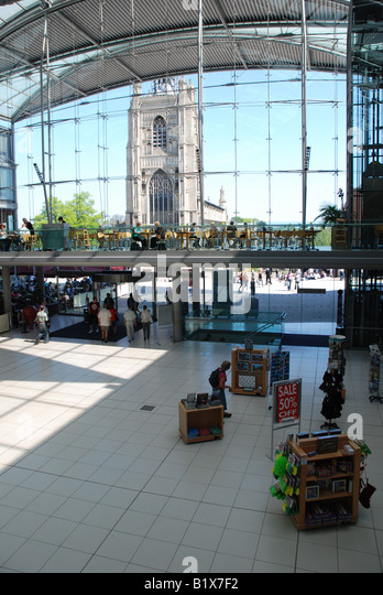 Looking out towards St Peter Mancroft Church from The Forum, Norwich, Norfolk - Stock Image