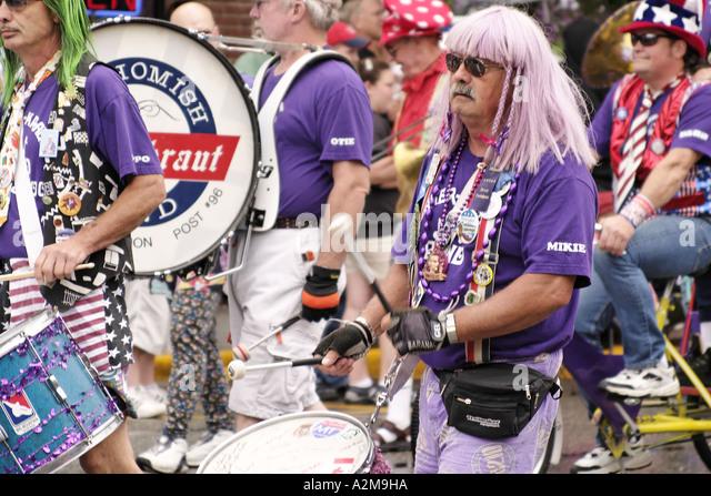 Marching band marching in Kla Ha Ya Days Parade Snohomish Snohomish County Washington USA - Stock Image