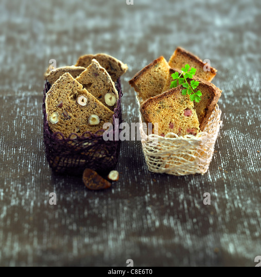 Fig and hazelnut bread and ham bread - Stock Image