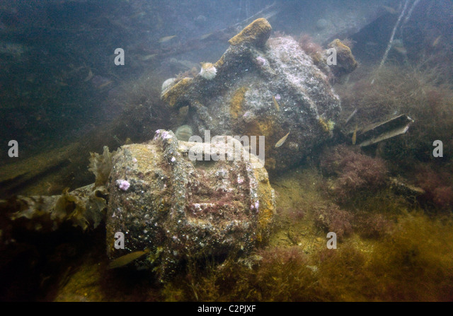 Wreckage from the German destroyer, F2 in Scapa Flow, Orkney - Stock Image