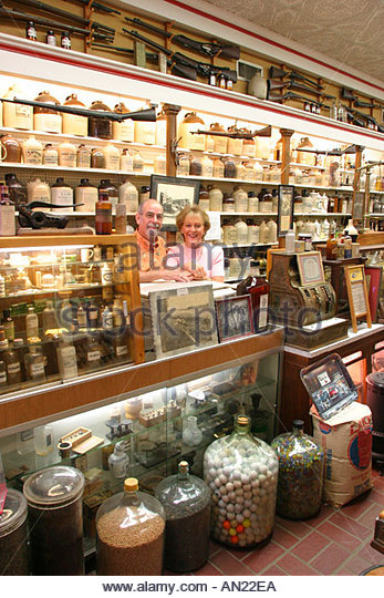 Mississippi Vicksburg Corner Drug Store apothecary bottles and memorabilia - Stock Image