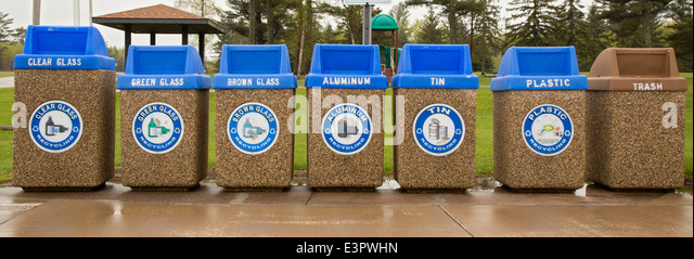 Superior, Wisconsin - Recycling containers at a highway rest stop. - Stock Image