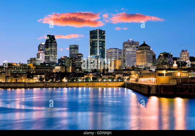 Montreal  skyline at night - Stock Image