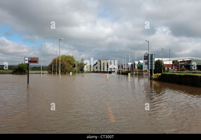 Weymouth Rains Flood the Town Prior to the Weymouth Sailing Olympics with Roads Underwater - Stock Image