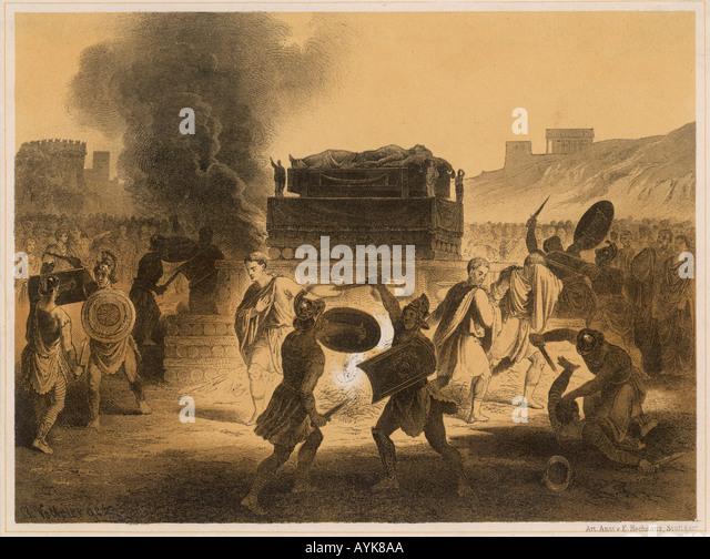 Caesars Funeral Pyre - Stock Image