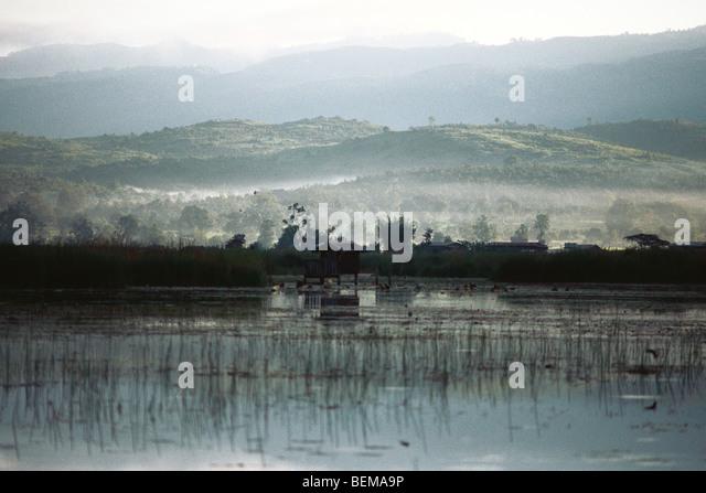 Myanmar (Burma), landscape with wetlands and rolling hills - Stock-Bilder