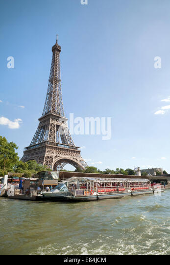 The Eiffel Tower, Paris, seen from the River Seine, Paris, France Europe - Stock Image