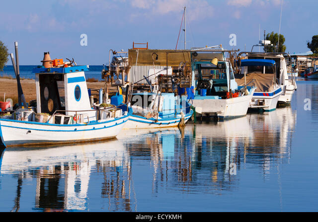 fishing boats on the river at Potamos Creek, Cyprus - Stock Image