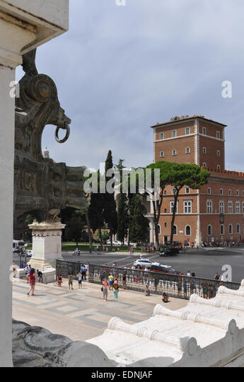 tourists visiting the Vittorio Emanuele Monument Rome Italy - looking out towards the Basilica of St Marco - Stock Image