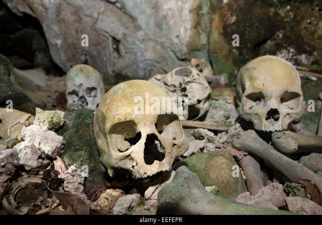 Old Skulls hidden in Rock Islands near Malwawa, Triton Bay, West Papua, Indonesia - Stock Image