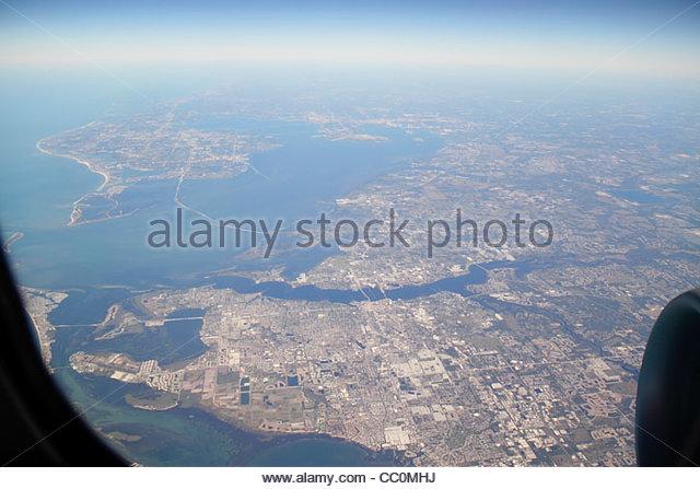Florida Tampa Bay Manatee River Bradenton Sunshine Skyway Bridge Gulf of Mexico aerial American Airlines Miami to - Stock Image