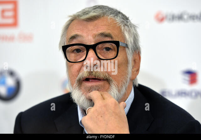 Prague, Czech Republic. 26th Apr, 2016. Karlovy Vary International Film Festival President Jiri Bartoska attends - Stock-Bilder