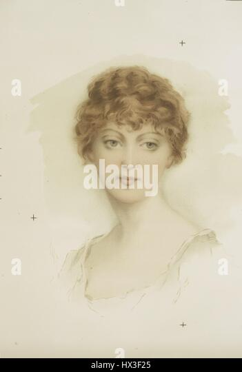 Full faced portrait of a blonde woman, 1900. From the New York Public Library. - Stock Image