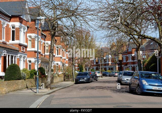 Terraced houses in Lebanon Park Twickenham west London UK - Stock Image