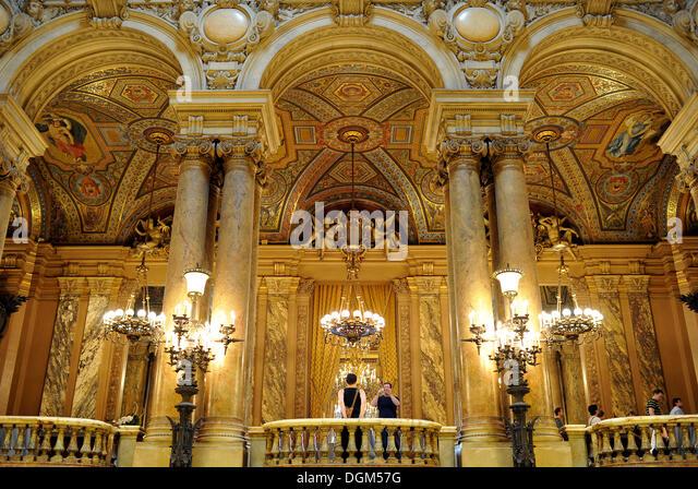 Interior, foyer, Opéra Garnier, Paris, France, Europe - Stock Image