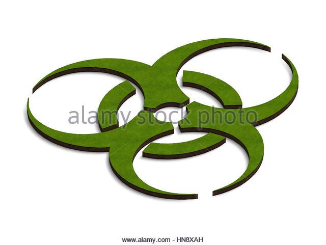 Digital composite - 3d Biohazard symbol land. - Stock Image