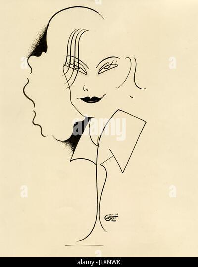 Cartoon of actress Greta Garbo by Xavier Cugat, 1929 - Stock Image
