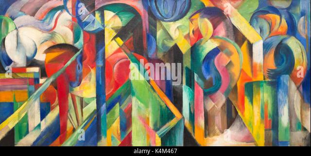 Stables, by Franz Marc, 1913, Solomon R. Guggenheim Museum, Manhattan, New York City, USA, North America - Stock Image