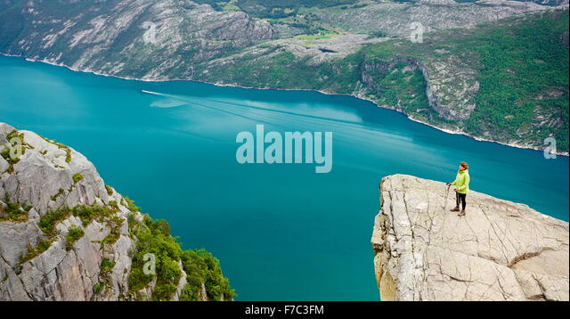 Lysefjorden near Preikestolen, Norway - Stock Image