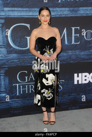 Hollywood, CA, USA. 10th Apr, 2016. Emilia Clarke. Arrivals for the Premiere Of HBO's ''Game Of Thrones'' - Stock Image