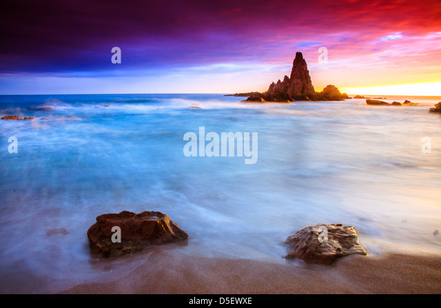 Sunset on the coast of the natural park of Cabo de Gata - Stock-Bilder