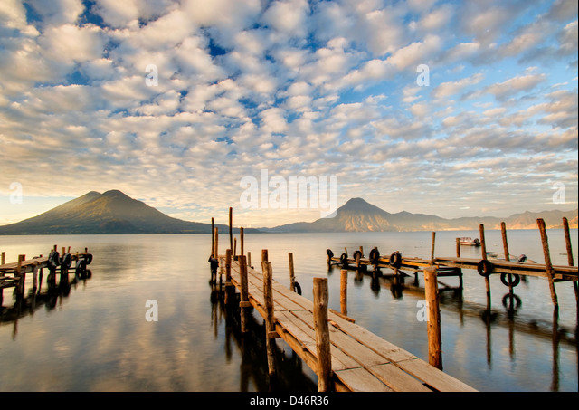 Docks at Lake Atitlan, Guatemala - Stock Image