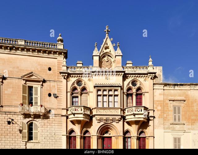 Baroque Facade, Pjazza San Pawl, Mdina - Stock-Bilder