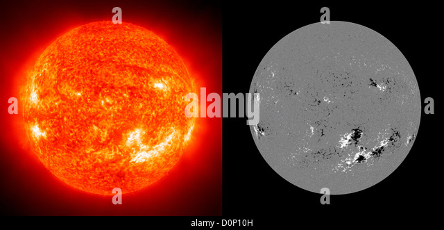 The Sun in ultraviolet light (left) that shows active regions (brightest white) compared magnetic image on same - Stock Image